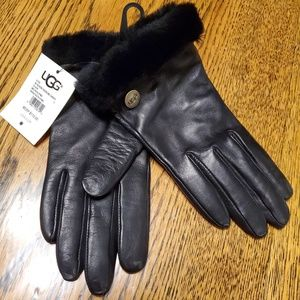 Ugg Black Gloves Small Leather Wool Womens
